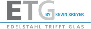 ETG GmbH Edelstahl trifft Glas, Edelstahlprodukte und Glas wie Glasvordach, Glasschiebetürsysteme, Glas-Windschutz und Glasduschen