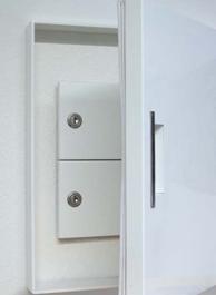 Mauerdurchwurf-Briefkastenanlage mit isolierter Innentür, geöffnet