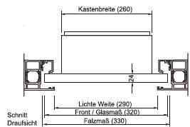 Aufmass Frontplatte einer Türseitenteil-Briefkastenanlage im Querschnitt